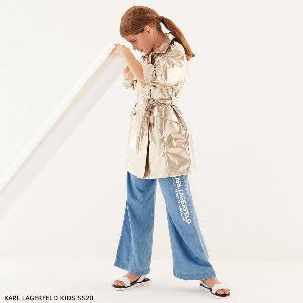 KARL LAGERFELD KIDS Girls Gold Shimmer Trench Coat Blue Wide Leg Pants