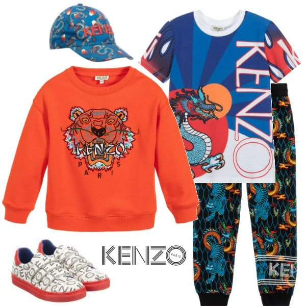 Kenzo Kids Boys Orange Tiger Sweatshirt Black Dragon Print Joggers Spring 2020