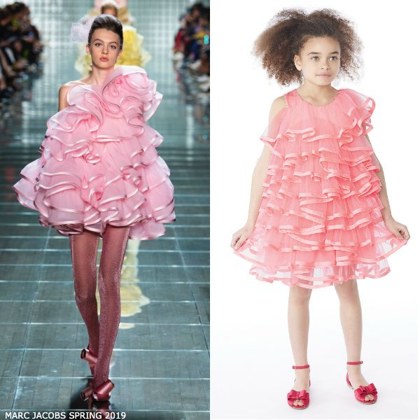 LITTLE MARC JACOBS GIRLS MINI ME PINK TULLE SILK RIBBON PARTY DRESS