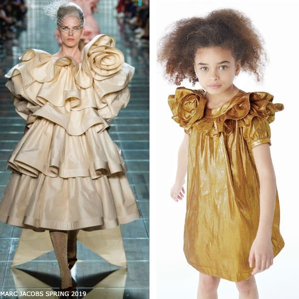 LITTLE MARC JACOBS Gold Silk Special Occasion Dress