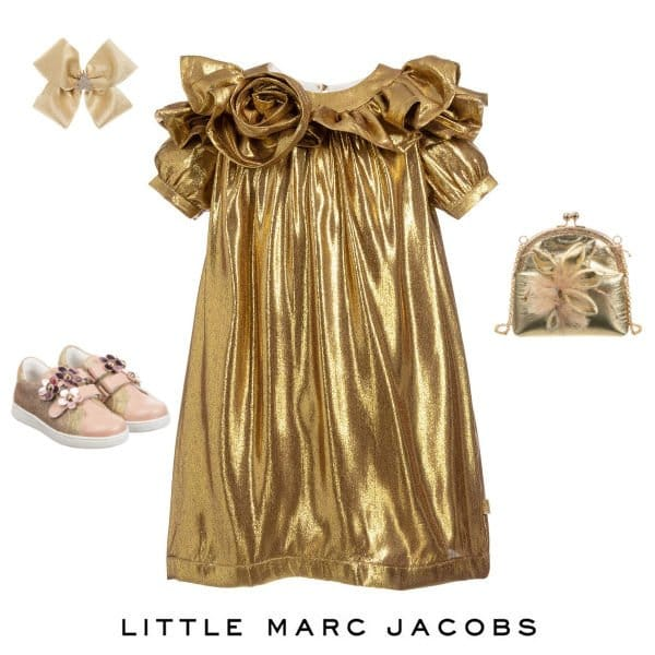 LITTLE MARC JACOBS Girls Gold Silk Special Occasion Dress Spring 2020
