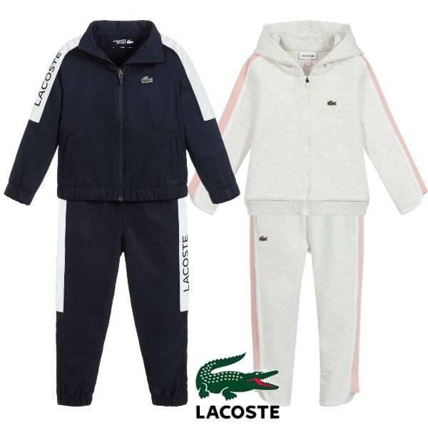 Lacoste Kids Boys Blue & White Tracksuit Girls Grey Sweatsuit Spring 2020
