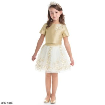 Lesy Girl Gold Top & Ivory Flower Skirt Special Occasion Outfit