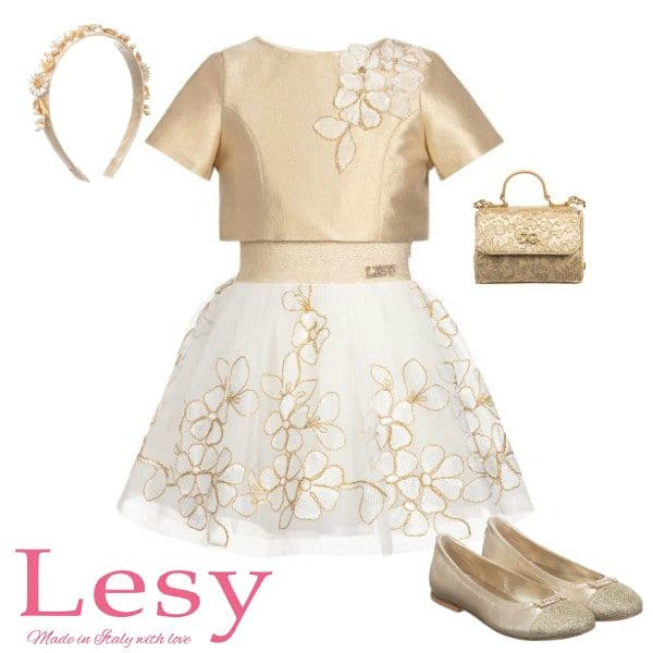Lesy Girl Gold Top & Ivory Flower Skirt Special Occasion Outfit Spring 2020