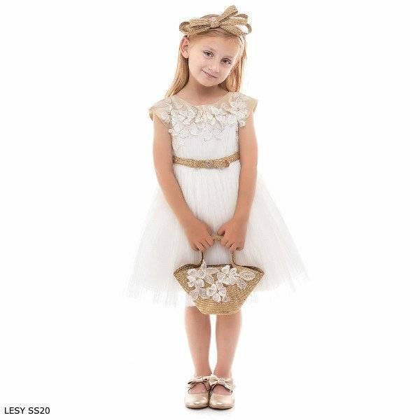 Lesy Girl Ivory & Gold Tulle Embroidered Flower Dress