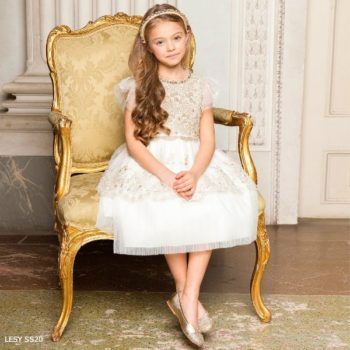 Lesy Girls Gold Ivory Lace Special Occasion Dress