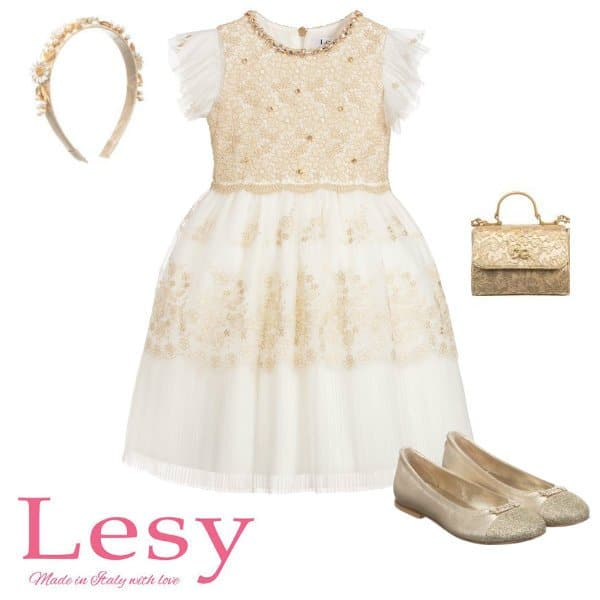 Lesy Girls Gold Ivory Lace Special Occasion Dress Spring 2020