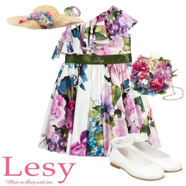 Lesy Girls Ivory Floral Print Special Occasion Dress Spring 2020