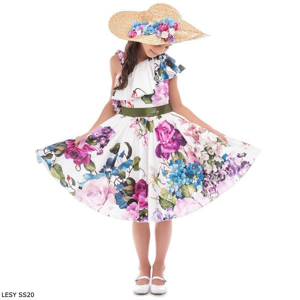 Lesy Girls Ivory Floral Print Special Occasion Dress