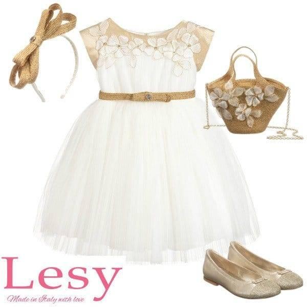 Lesy Girls Ivory & Gold Tulle Embroidered Flower Dress