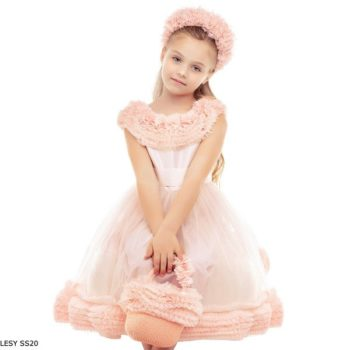 Lesy Girls Pink Tulle Ruffle Collar Special Occasion Dress