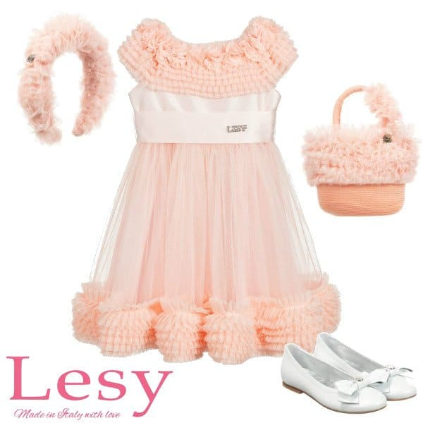 Lesy Girls Pink Tulle Ruffle Collar Special Occasion Dress Spring 2020