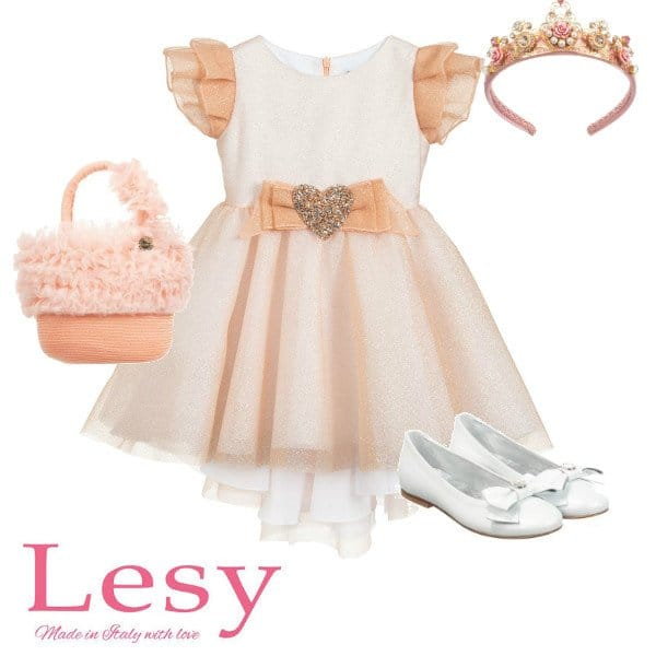 Lesy Girls Rose Gold Sparkly Tulle Special Occasion Dress Spring 2020