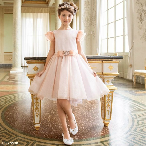 Lesy Girls Rose Gold Sparkly Tulle Special Occasion Dress