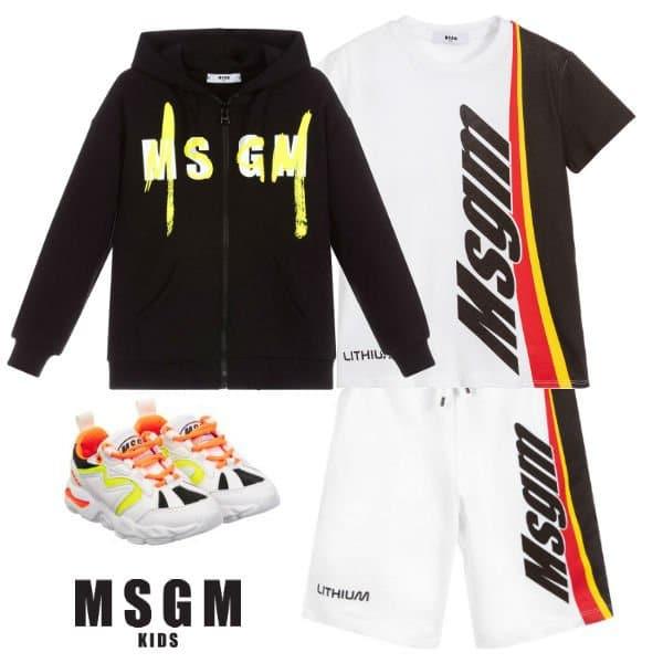 MSGM Kids Boys White & Black Lithium Theme T-Shirt Shorts Spring 2020