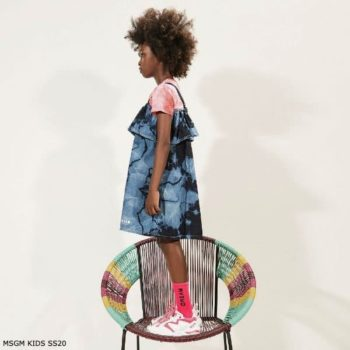 MSGM Kids Girls Blue Tie Dye Denim Dress Pink Dream Shirt