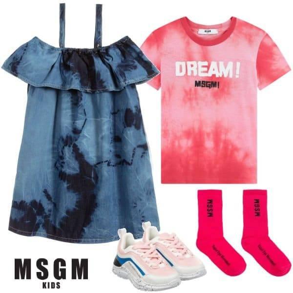 MSGM Kids Girls Blue Tie Dye Denim Dress Pink Dream Shirt Spring 2020