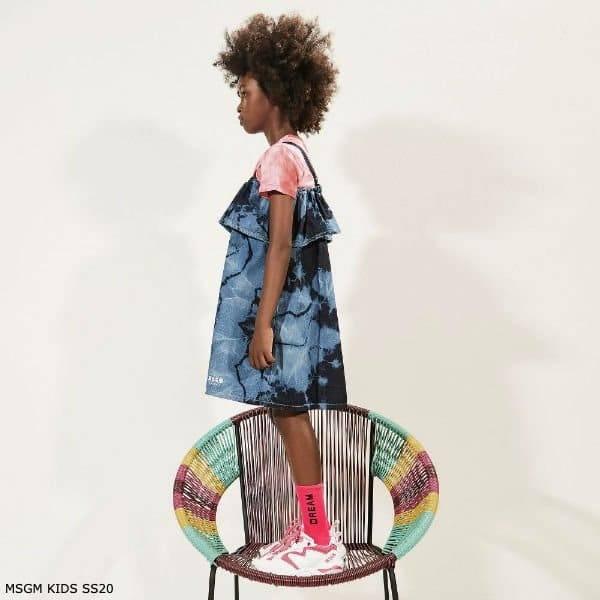 MSGM Kids Girls Blue Tie Dye Denim Dress Pink Dream Shirt