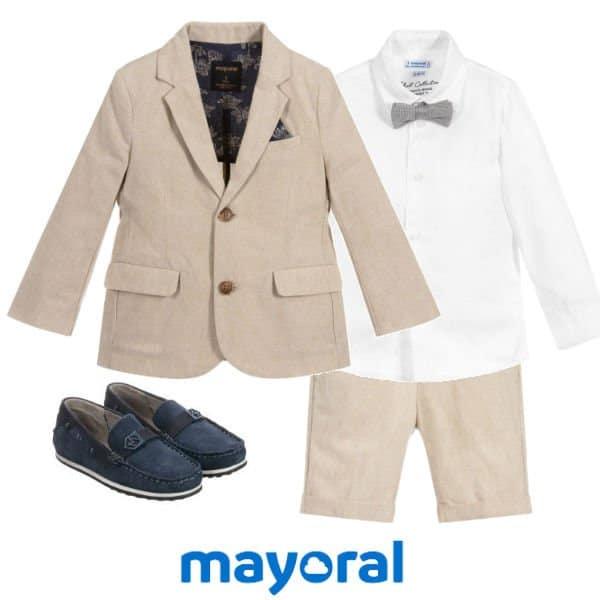 Mayoral Boys Beige Cotton Blazer Jacket Shorts Suit