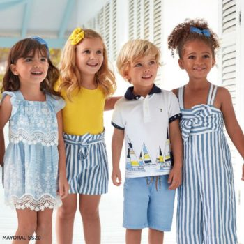 Mayoral Girl Blue Cotton & Lace Dress Boy White Sailboat Polo