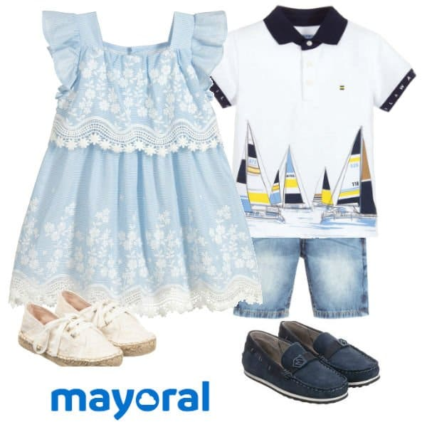 Mayoral Girl Blue Cotton & Lace Dress Boy White Sailboat Polo Shirt