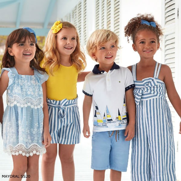 Mayoral Girl Blue Cotton & Lace Dress Boy White Sailboat Polo