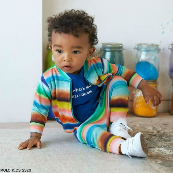 Molo Baby Boy Colourful Sunset Striped Tracksuit