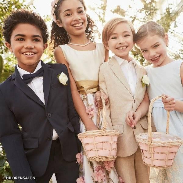 Nicki Macfarlane Floral Silk & Organza Dress Mayoral Boys Beige Suit