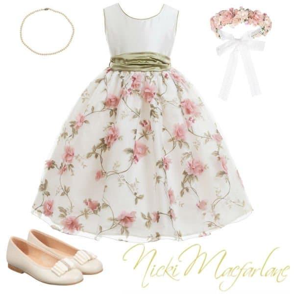Nicki Macfarlane Floral Silk & Organza Flower Girl Dress