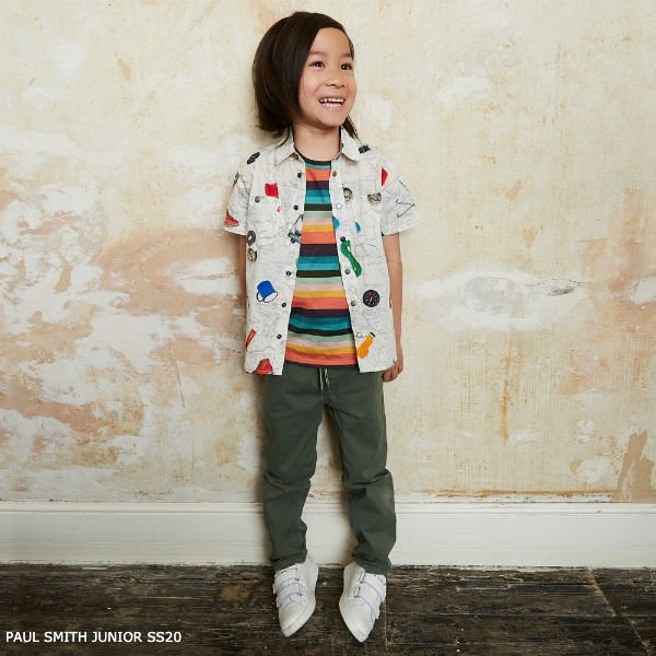 Paul Smith Junior Boys Ivory Camping Map Print Shirt