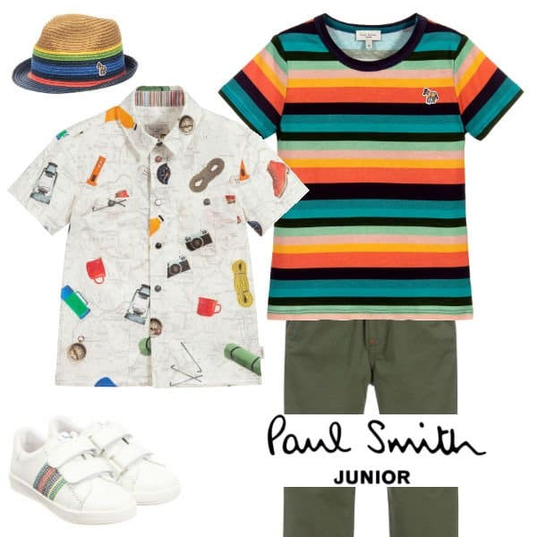 Paul Smith Junior Boys Ivory Camping Map Print Shirt Spring 2020