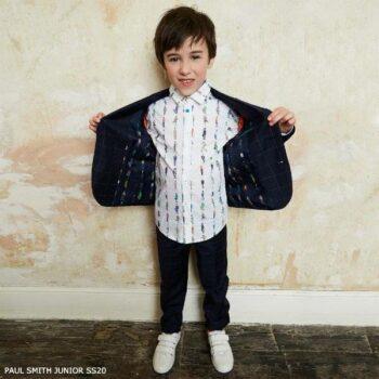 Paul Smith Junior Boys Mini Me Navy Blue Wool Fine Check Suit
