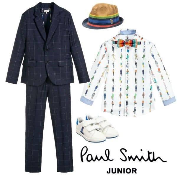 Paul Smith Junior Boys Mini Me Navy Blue Wool Fine Check Suit Spring 2020