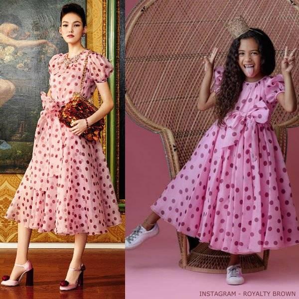 Royalty Brown Birthday Photo - Dolce Gabbana Mini Me Pink Polkadot Mini Me Dress