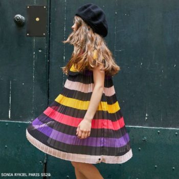 Sonia Rykiel Paris Girls Striped Chiffon Special Occasion Dress