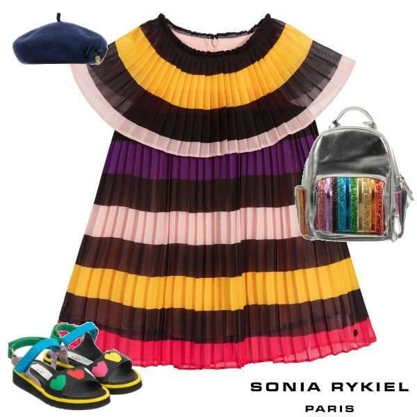 Sonia Rykiel Paris Girls Striped Chiffon Special Occasion Dress Spring 2020