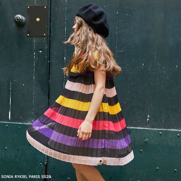 Sonia Rykiel Paris Girls Striped Chiffon Special Occasion Dress