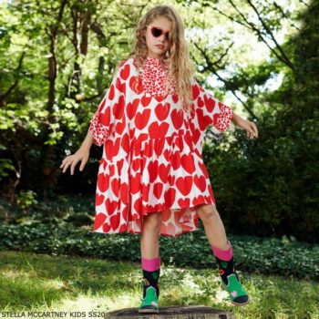 Stella McCartney Kids Girls White & Red Heart Kimono Dress