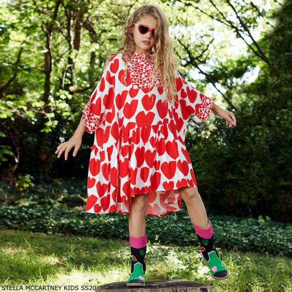 Stella McCartney Kids Girls White & Red Heart Kimono Dress