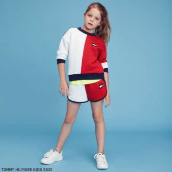 Tommy Hilfiger Kids Girls Red, White & Blue Sweatshirt Shorts