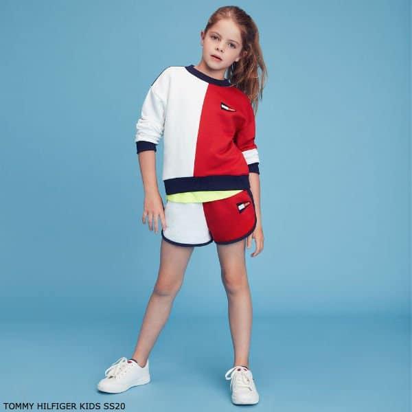Tommy Hilfiger Kids Girls Red, White & Blue Sweatshirt Shorts