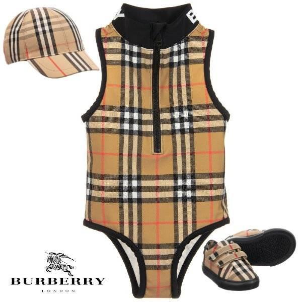 Burberry Baby Girl Mini Me Beige Check Logo Zip-Up Swimsuit