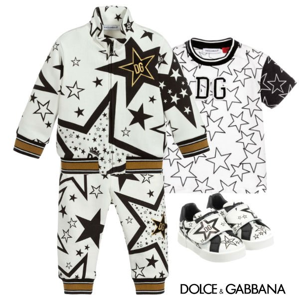 DOLCE & GABBANA BABY MINI ME WHITE BLACK GOLD MILLENNIALS STAR TRACKSUIT Spring 2020