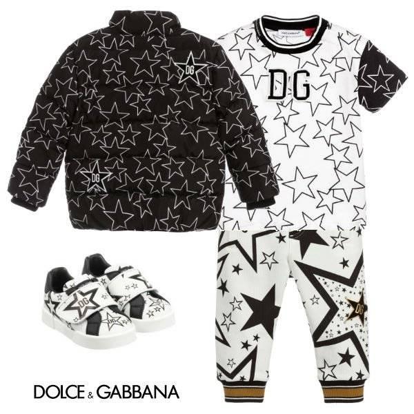 Dolce Gabbana Baby Boy Black White Star Jacket Tshirt Jogger