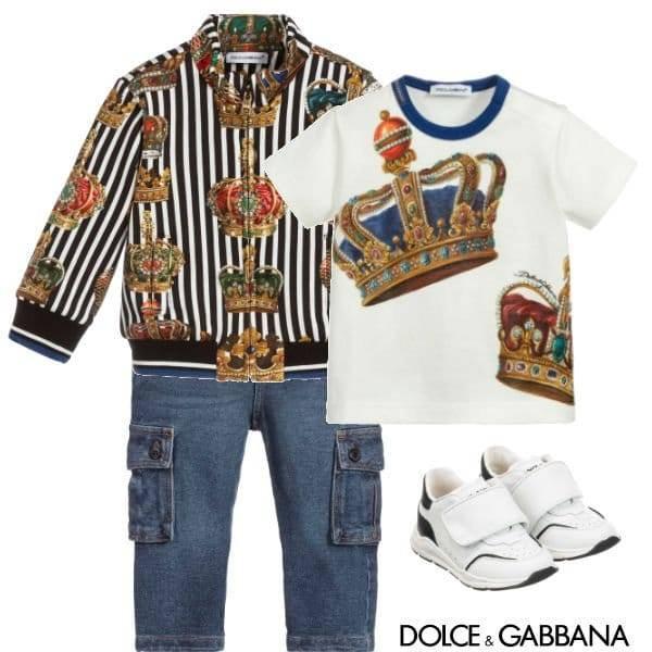 Dolce Gabbana Baby Boy Black White Stripe Crown Jacket Jeans