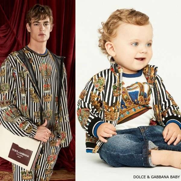 Dolce Gabbana Baby Boy Mini Me Black & White Stipe King's Age Crown Jacket