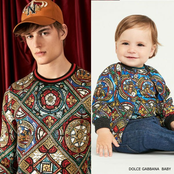 Dolce Gabbana Baby Boy Mini Me Stained Glass Window Print Zip Up Hoodie Jeans