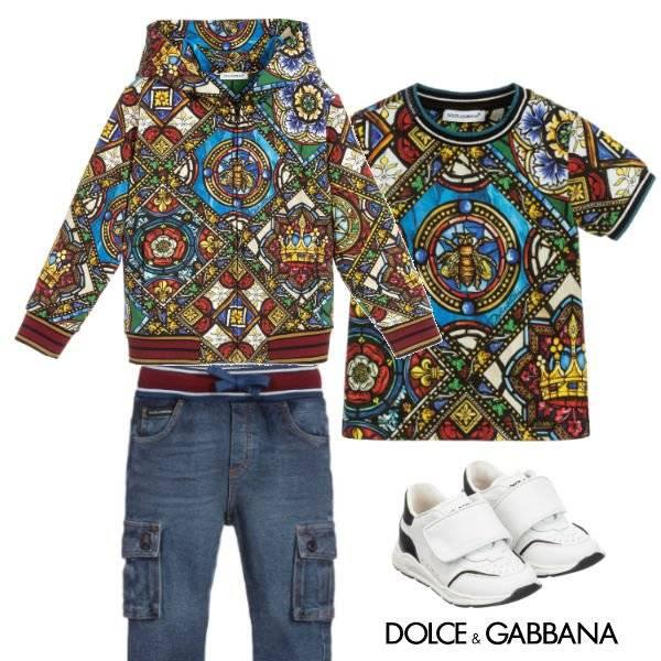 Dolce Gabbana Baby Boy Mini Me Stained Glass Window Print Zip Up Hoodie Shirt Jeans