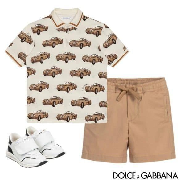 Dolce Gabbana Baby Boy Sicilian Tropical Small Car Print Polo Shirt Khaki Shorts