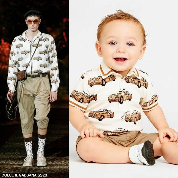 Dolce Gabbana Baby Boy Sicilian Tropical Small Car Print Polo Shirt